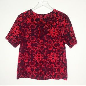 Amanda Uprichard | Red Floral 100% Silk Blouse S